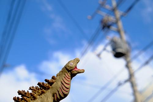 高い空と電柱を見上げて、びっくりしている、シン・ゴジラ第二形態、蒲田くん