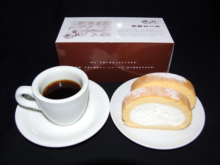 DSCF5476 堂島ロール (元箱&カット&コーヒー)