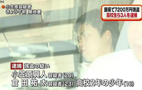 小笠原興人 倉田祐太 少年法 強盗 東京 銀座 珍走団