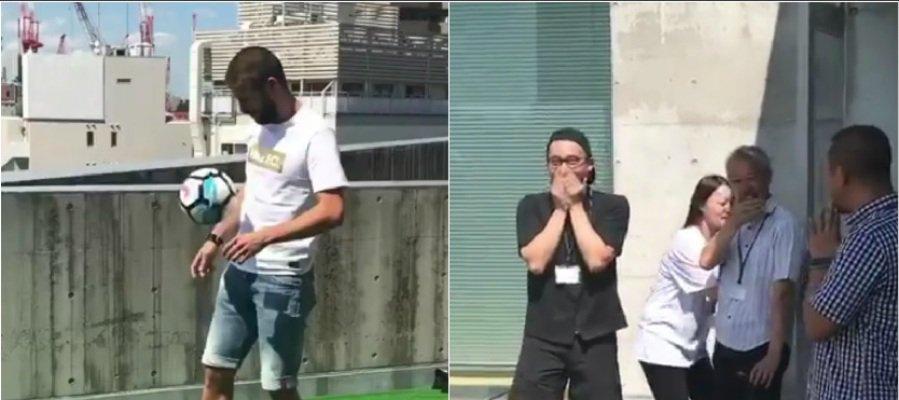 Piqué la lía mientras grababa un vídeo en una azotea en Japón