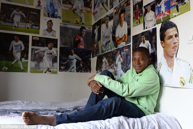 Kylian Mbappes bedroom walls were plastered with pictures of Cristiano Ronaldo