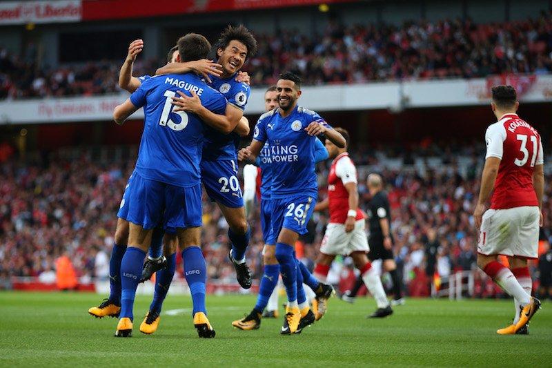 Arsenal 4_3 Leicester Lacazette Welbeck Ramsey Giroud Okazaki Vardy 2