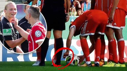 Franck Ribery doing laces prank with referee Bibiana Steinhaus