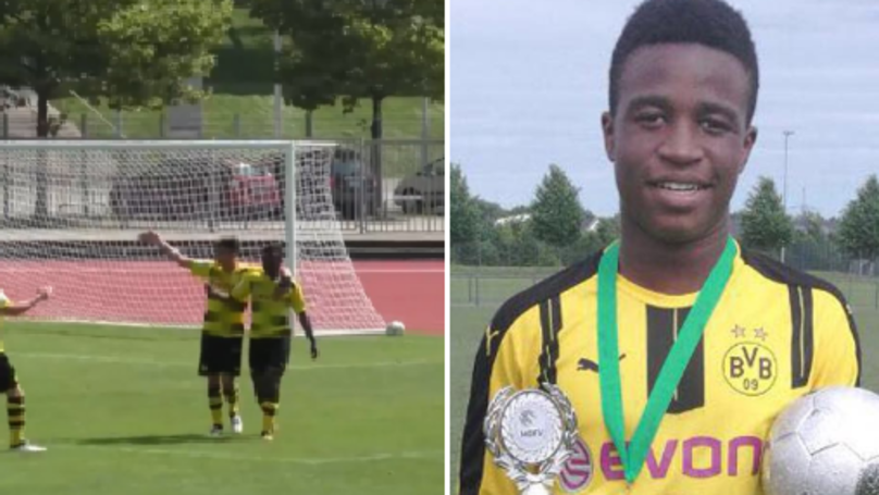 Dortmunds U17 Youssoufa Moukoko scored two goals Twelve years