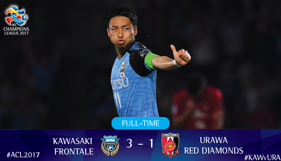 kawasaki frontale have the win but Urawa Red Diamonds have an away goal!