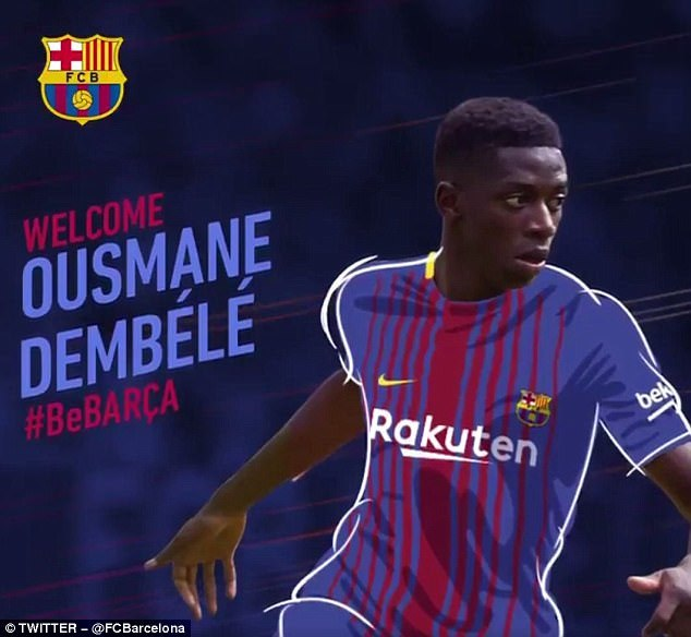 Barcelona complete signing of Ousmane Dembele for £96m from Borussia Dortmund to replace departed Neymar and they include a release clause of £368m