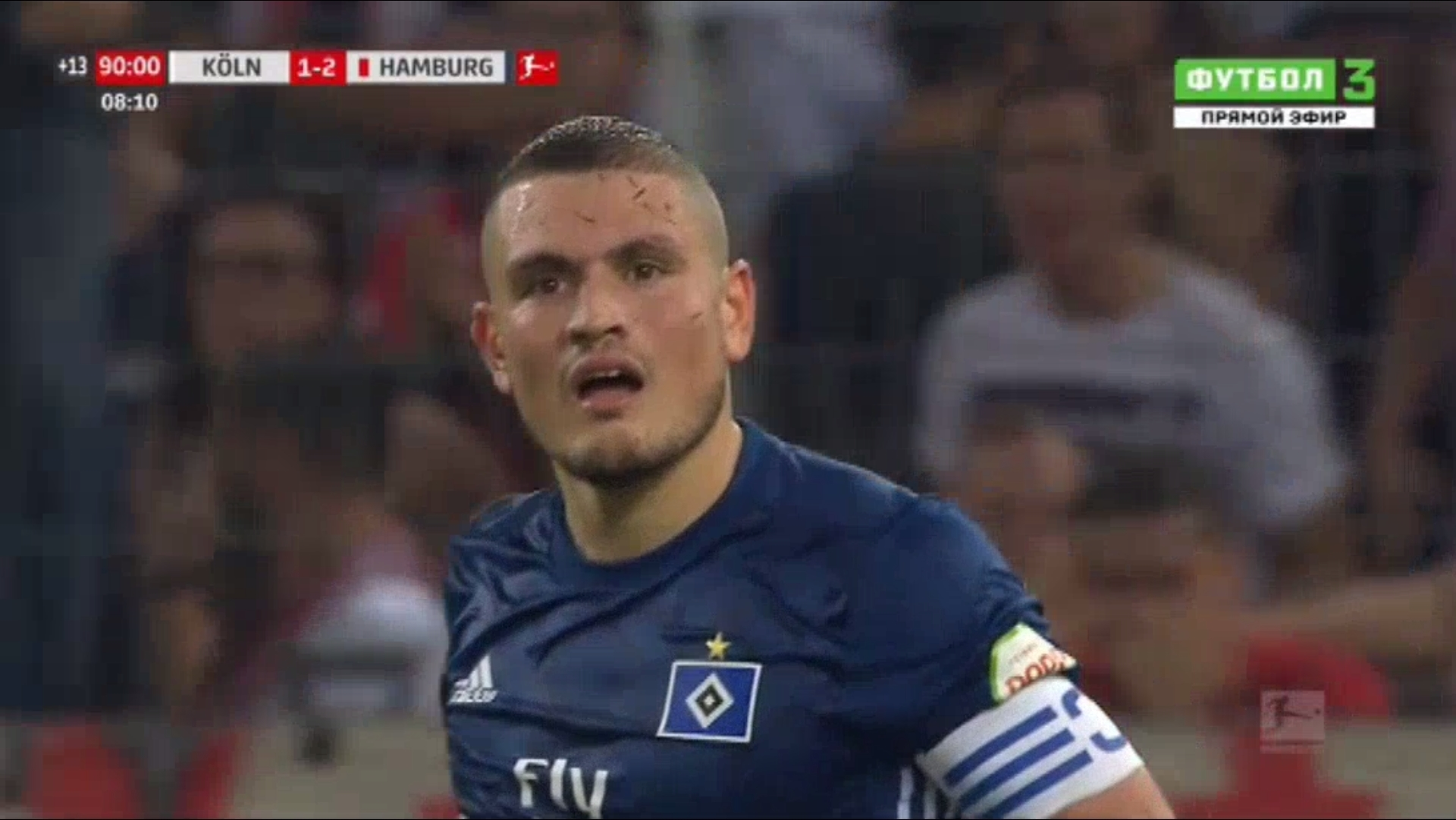 Papadopoulos (HSV) yellow card against Koln after an awful simulation