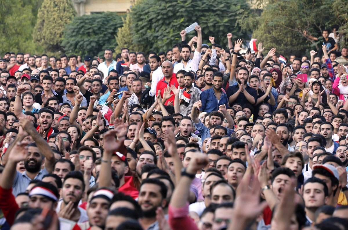 Syria fans in Damascus team is potentially one goal away from the #WorldCup
