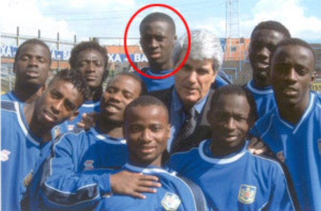 Toure (circled) in the African-dominated team at Beveren