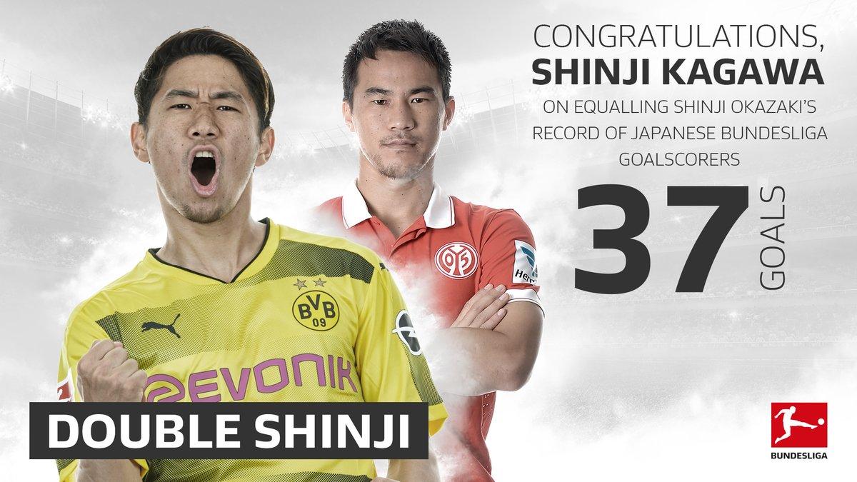 Shinji Kagawa scored tonight his 37th Bundesliga goal and became the best Japanese scorer in the #Bundesliga history