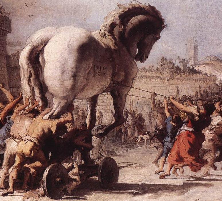 『トロイアの木馬の行進』ジョヴァンニ・ドメニコ・ティエポロ