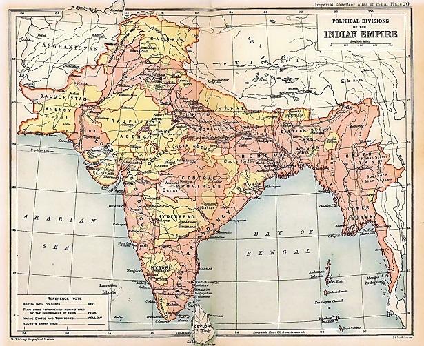 イギリス領インド帝国の地方行政区画(1909年)