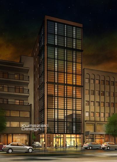 ホテル 事務所 オフィス 店舗 夜景 夕景 外観パース 手書きパース 手描きパース フォトショップ photoshop