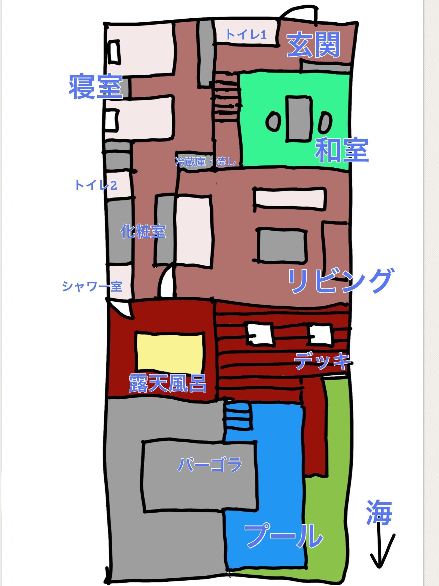 東急ハーヴェストVIALA熱海伊豆山 プライベートプール付きシグネチャースゥィート 見取り図 平面図