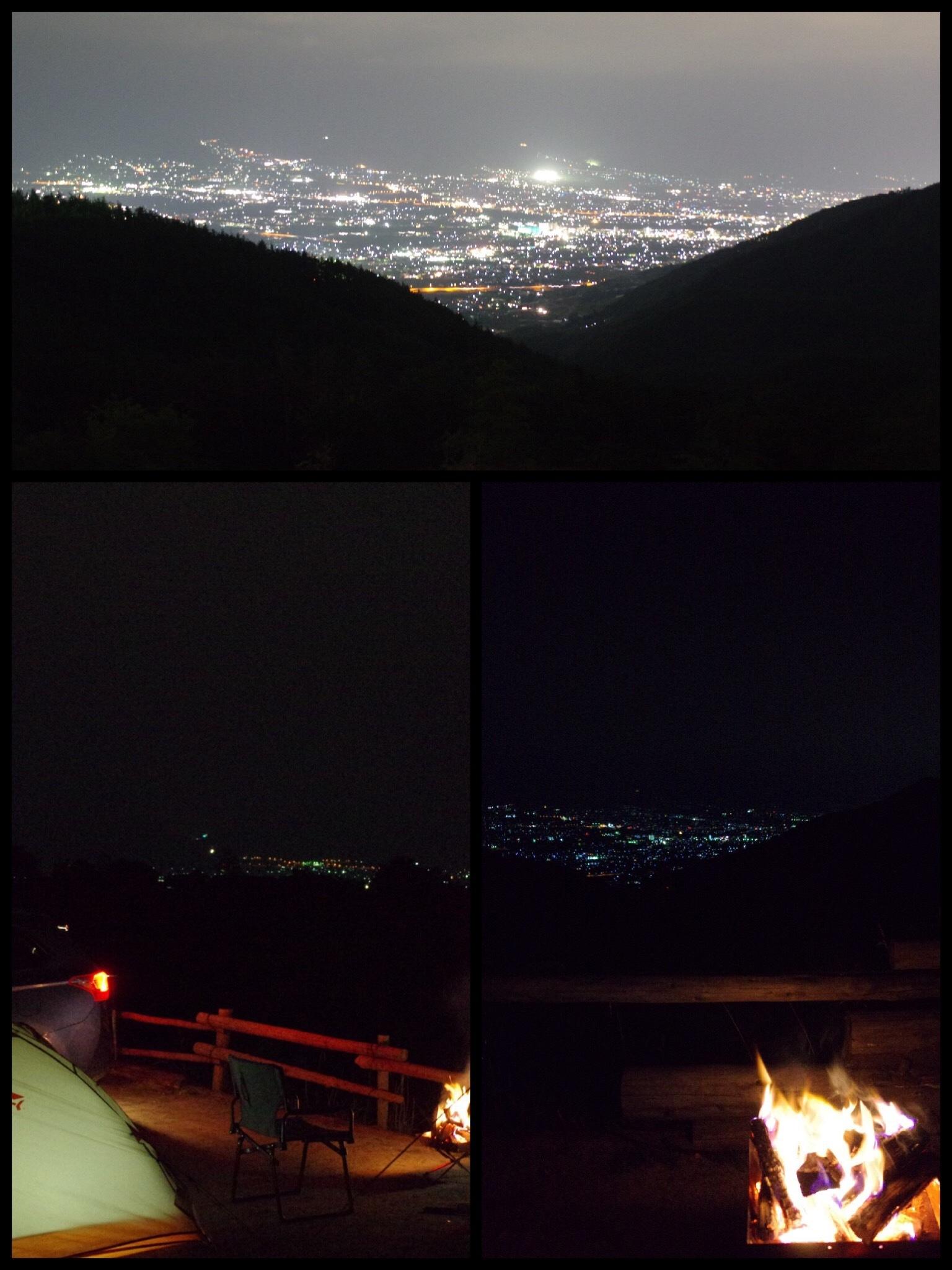 ほったらかしキャンプ場 小屋付きサイト 夜景