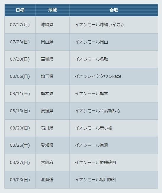 コロツアー2017 日程