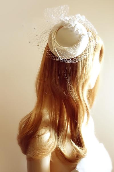 No 50 6# トーク帽 #トークハット #シルク #絹 Silk100% #ウェディング #ヘッドドレス