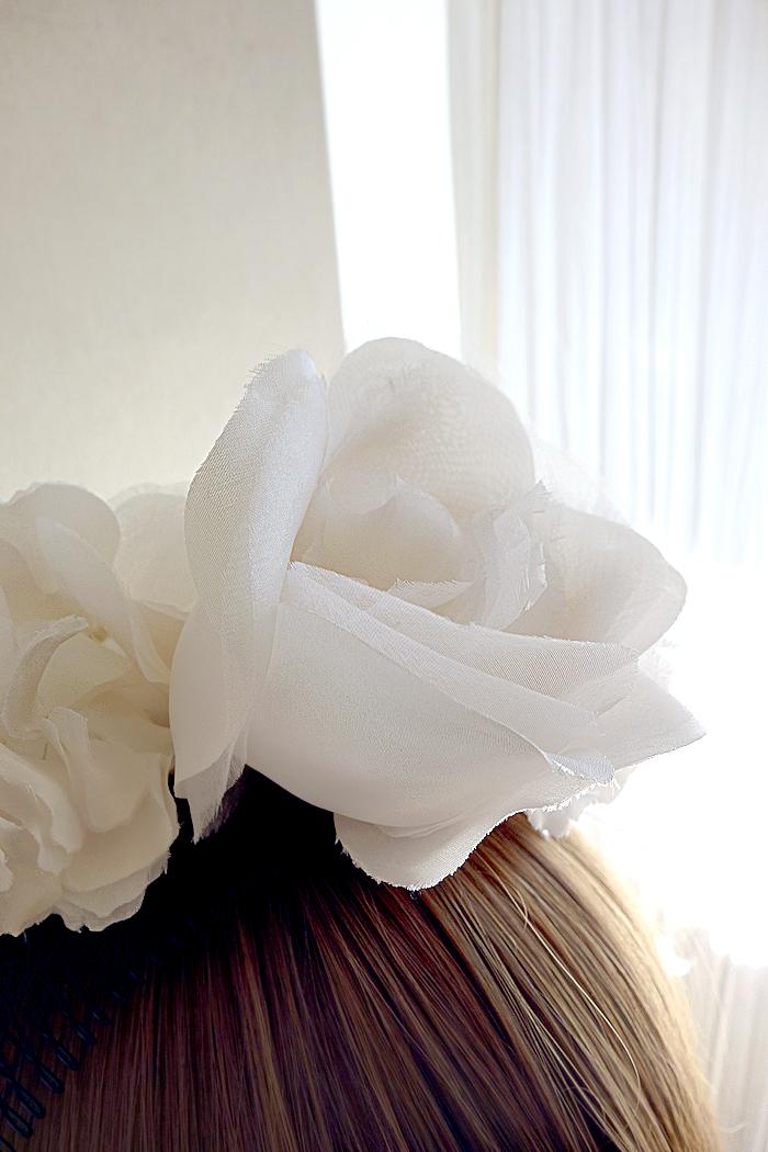 No 41 ★4 バードゲージ Silk100%絹コサージ ュカチューシャ ウェディング ヘッドドレス ヘッドアクセサリー
