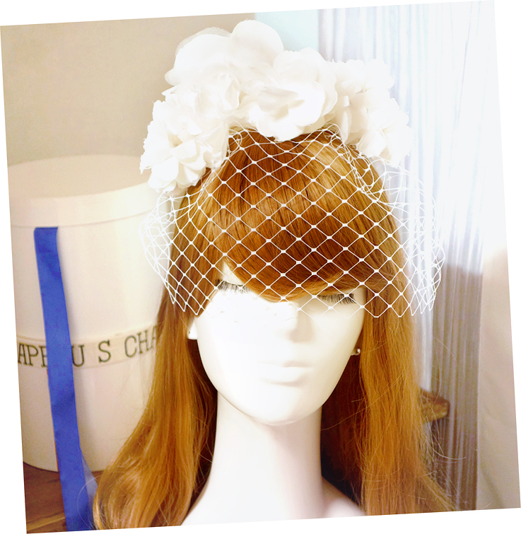 No 41 ★6 バードゲージ Silk100%絹コサージ ュカチューシャ ウェディング ヘッドドレス ヘッドアクセサリー