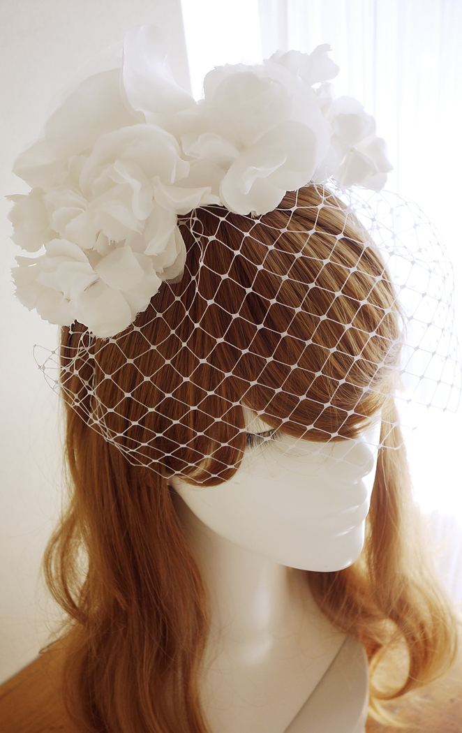 No 41 ★8 バードゲージ Silk100%絹コサージ ュカチューシャ ウェディング ヘッドドレス ヘッドアクセサリー