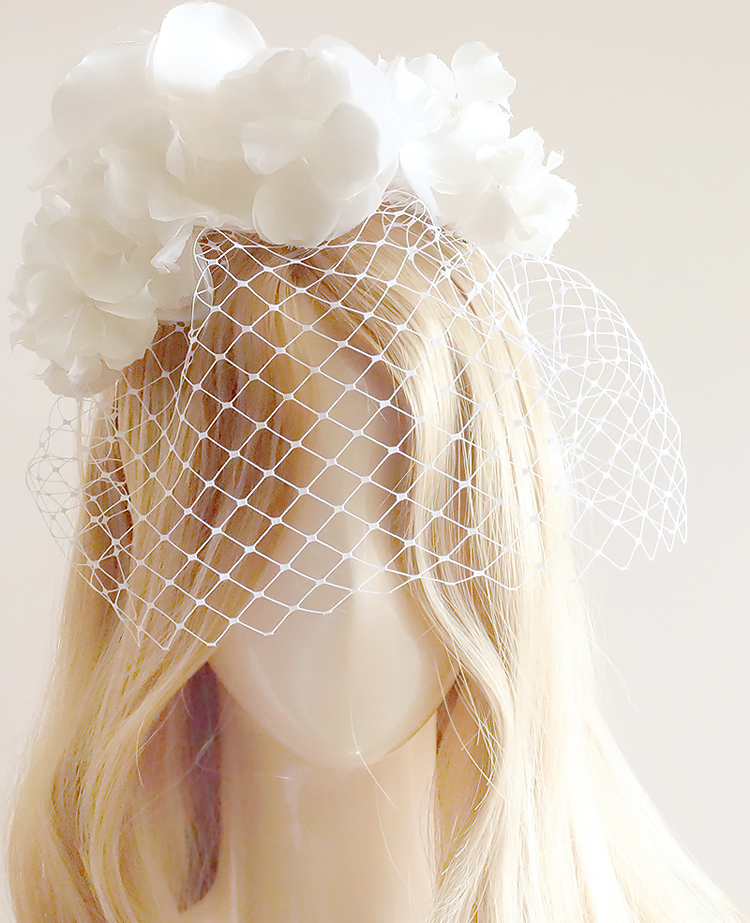 No 41 ★ バードゲージ Silk100%絹コサージ ュカチューシャ ウェディング ヘッドドレス ヘッドアクセサリー