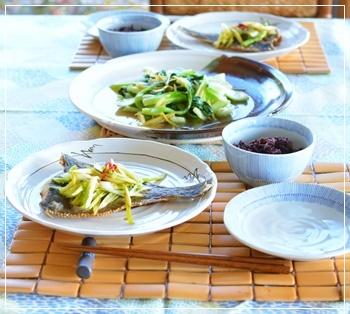 鰈&青梗菜で夕飯