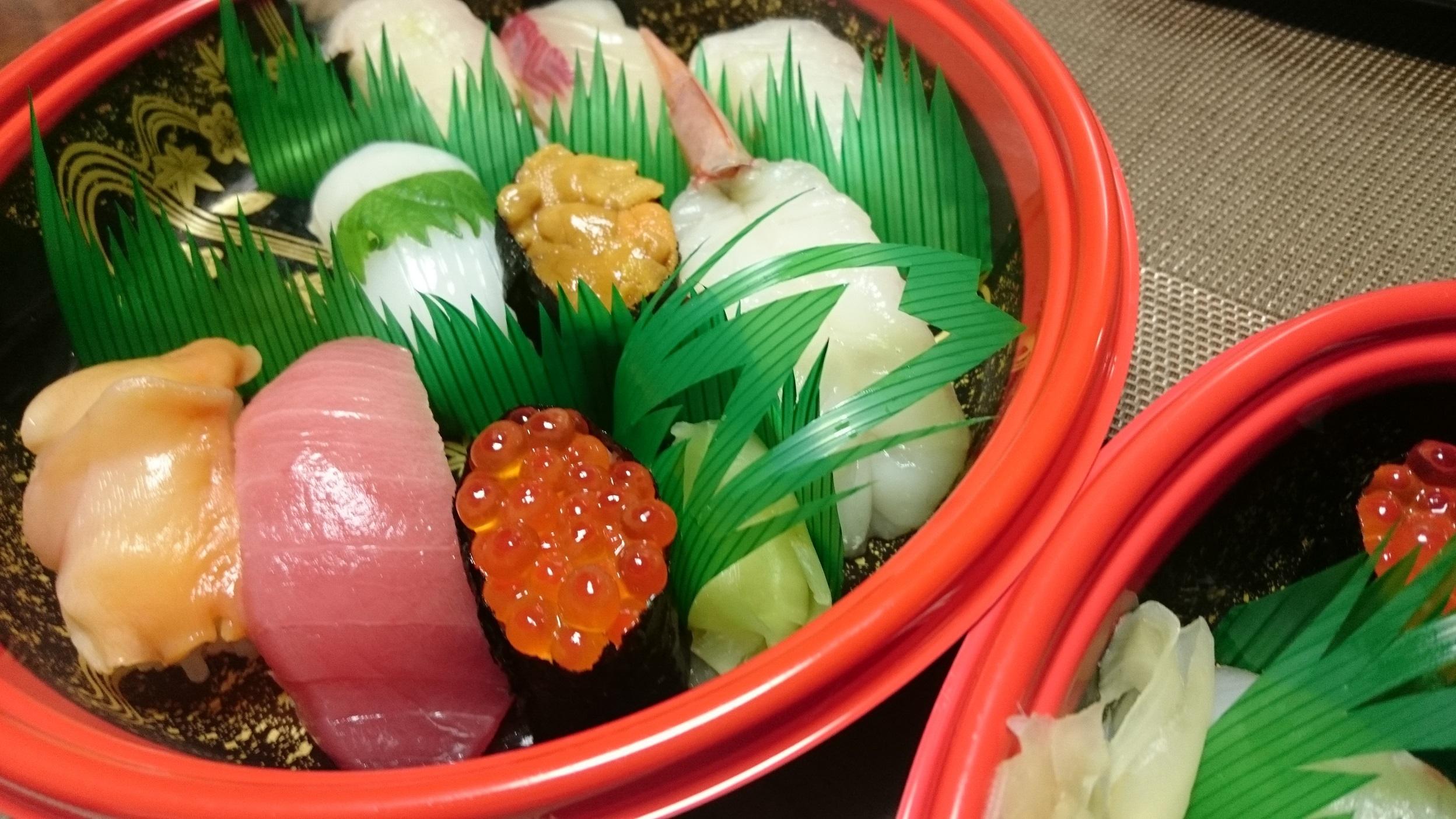 移植の日の夜はお寿司の出前。
