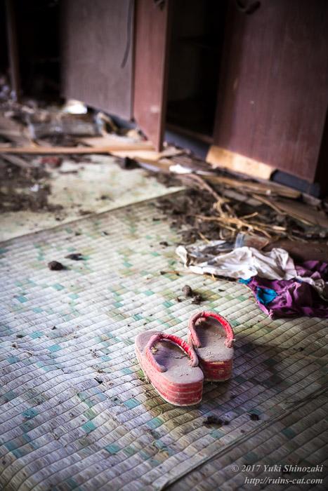 【廃墟写真】西興部村上藻のサイロ付き住宅跡_赤い下駄