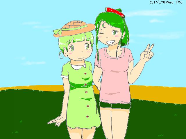 スイカとメロンと畑と娘