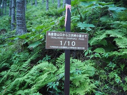 三伏峠までの指導標