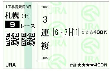 【馬券】290805札幌9R(三連複 万馬券 的中)