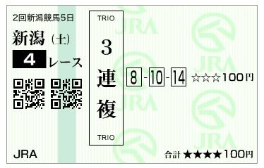 【馬券】290812新潟4R(三連複 万馬券 的中)