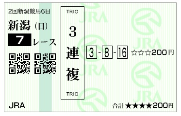 【馬券】290813新潟7R(三連複 万馬券 的中)