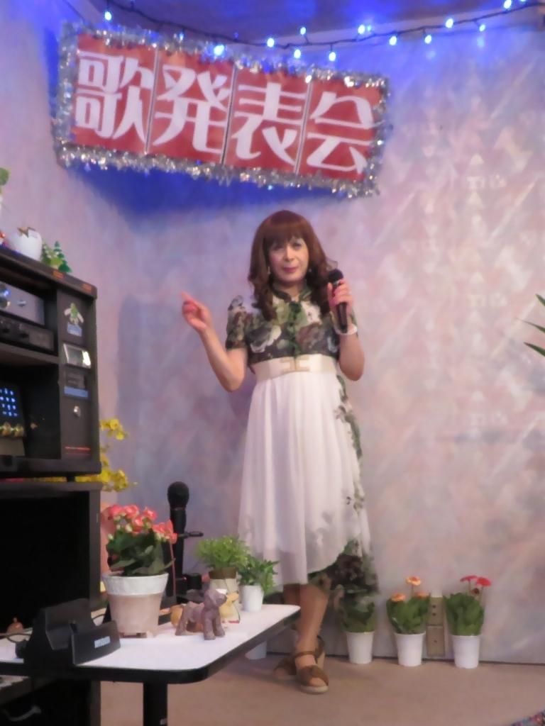 緑シフォンマキシドレスカラオケ(2)