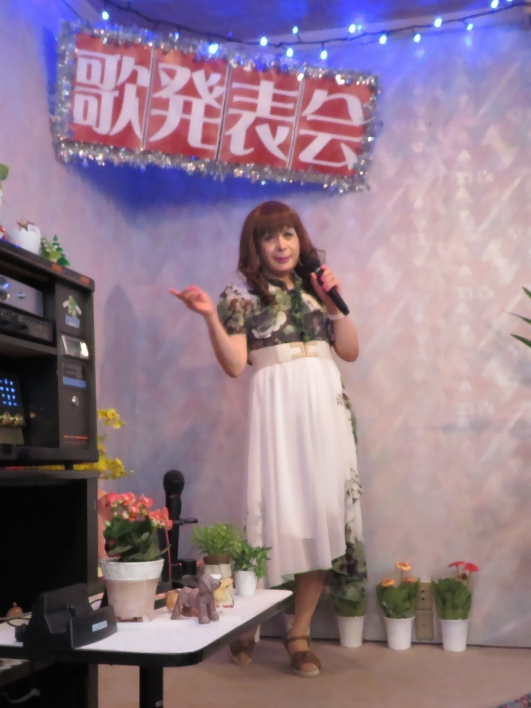 緑シフォンマキシドレスカラオケ(3)