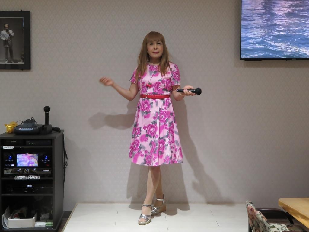 ピンクの薔薇柄ワンピカラオケ(4)