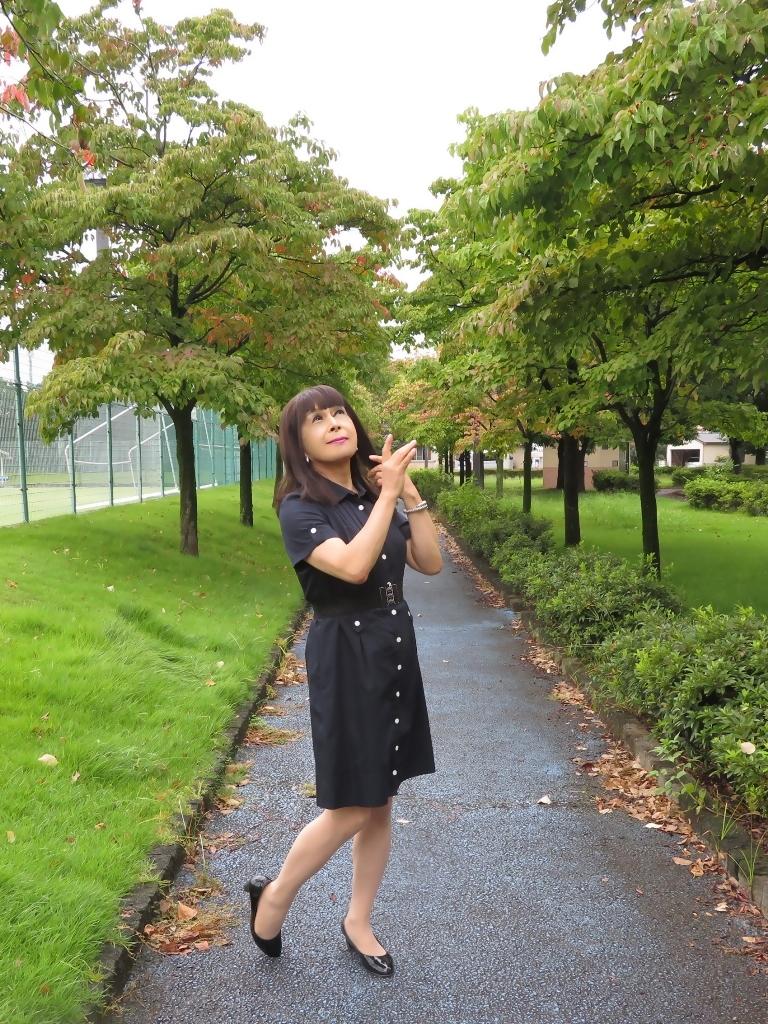 紺色の半袖ワンピA(5)