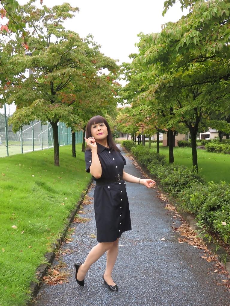 紺色の半袖ワンピA(6)
