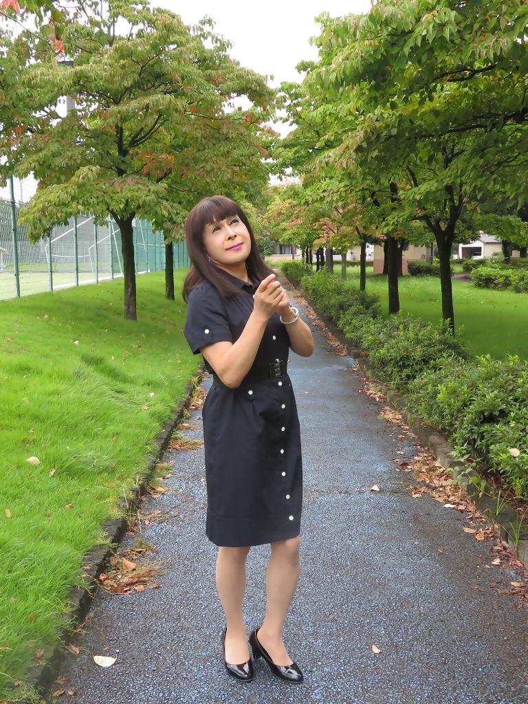 紺色の半袖ワンピA(7)