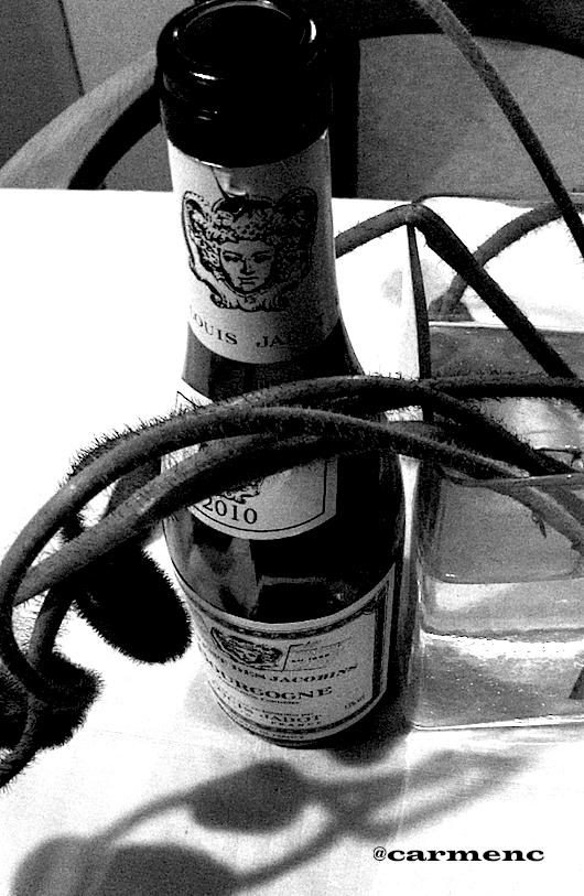白ワインとポピーの影