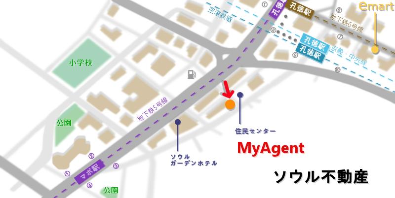 韓国 マポ 北倉洞純豆腐 地図