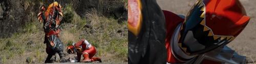戦隊ヒーロー、キョウリュウジャーのキョウリュウレッドがやられてピンチ
