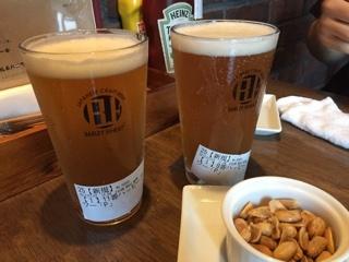 伊勢角屋麦酒 グレープフルーツIPA ・ Aoi Brewing Thanks IPA ・ チャージのナッツ