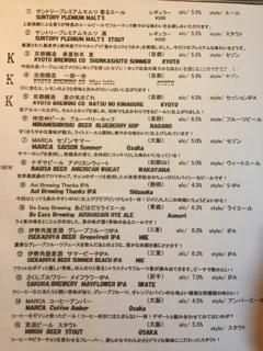 クラフトビールのメニュー