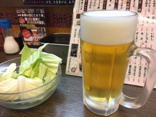 生ビールとキャベツ