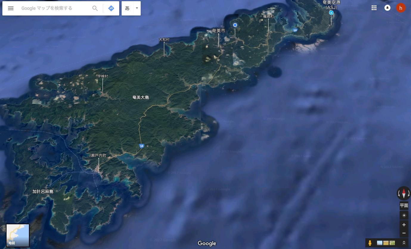 奄美大島俯瞰図