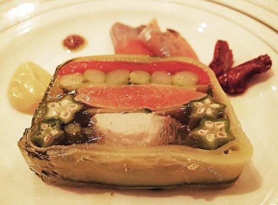 阿寒湖産姫鱒軽い燻製と野菜のテリーヌ20170809