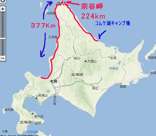 2日目コムケ湖キャンプ場まで
