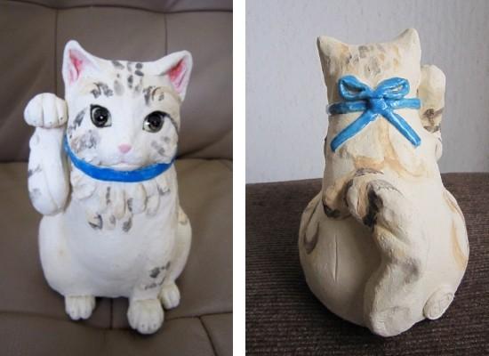 長毛猫の招き猫-すず音窯-陶芸置物