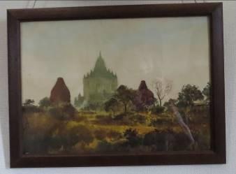 ミャンマー古都パガン風景(水彩画)